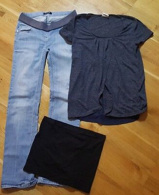MATERNITY BUNDLE mothercare jeans, mamalicious nursing top&top shop bump bandeau