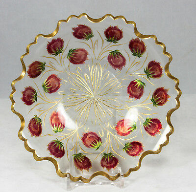Antique France Carved Glass Bowl Gold Red Strawberry Hand Paint RARE