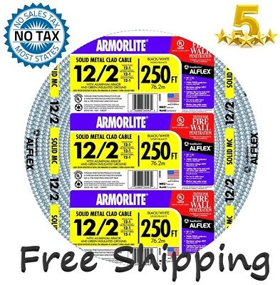 Southwire Armorlite 250-ft 12/2 Solid Aluminum Feeder MC Cable Wire Exposed/Wet*