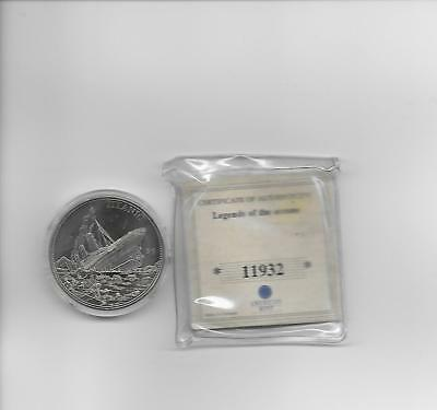 Liberia 5 Dollar Coin 2000 American Mint Uncirculated with COA titanic