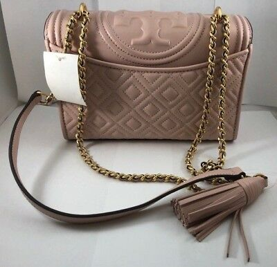 7c07646438a7 Authentic TORY BURCH Fleming Convertible Shoulder Bag 43833 Shell Pink NEW