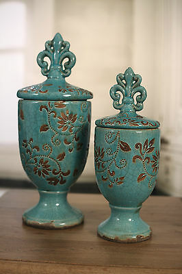 Ceramic Fleur de Lis Straight Top Canisters Provincial NEW Two Sizes Available