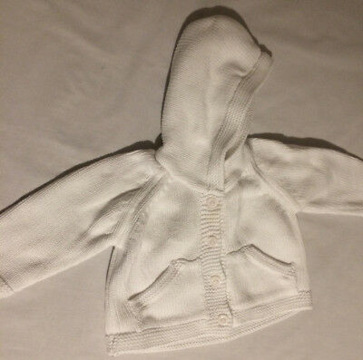 M& S White Cotton Hooded Cardigan With Lined Hood Age 0-3 Months