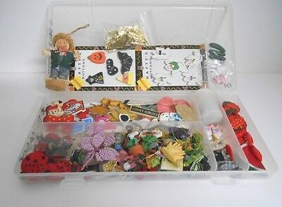 Lge Lot of Misc Wood/Resin/Metal/Glass Mini Embellishments&Buttons + Clear Case
