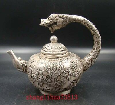 Collectible Handmade Carving Statue Copper silver Teapot dragon Art Deco