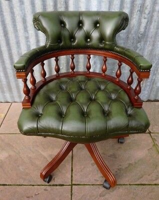 Antique Reproduction Green Leather Mahogany Chesterfield Captain's Swivel Chair