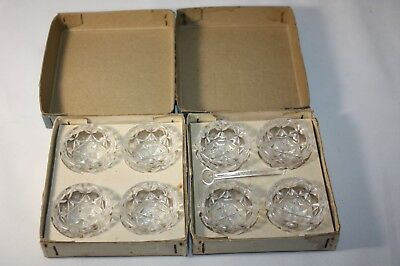 8 vintage glass salt cellars in boxes By Hilco JAPAN # 3039 SAVORY