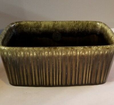 Vintage USA Green Brown Hull Gloss F467 Ribbed Planter Beautiful Antique