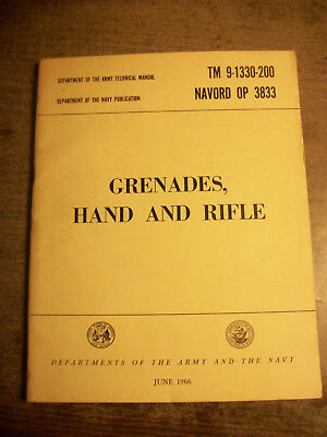 Grenades Hand and Rifle Book TM 9-1330-200 ORIGINAL June 1966 Exc Cond