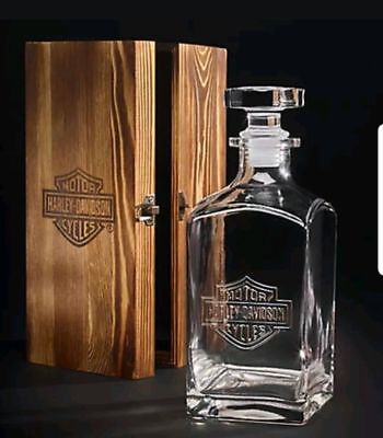 Genuine Harley Davidson 32 oz. Whiskey Decanter with Wood Box Limited Edition