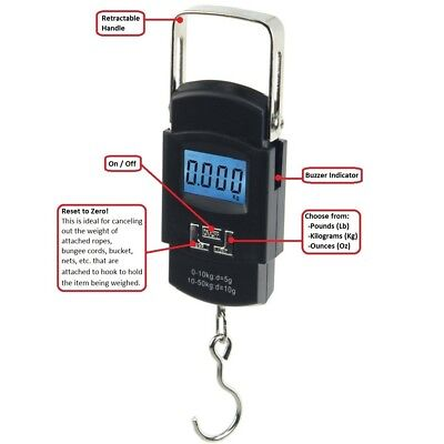 110lbs 50kg Digital Hanging Luggage Fish Shopping Electronic Hook Weight Scale