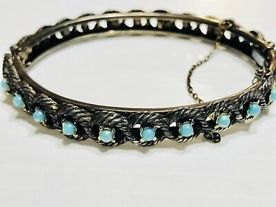 Vintage Silver Turquoise Beaded Hinged Bangle Bracelet Safety Chain