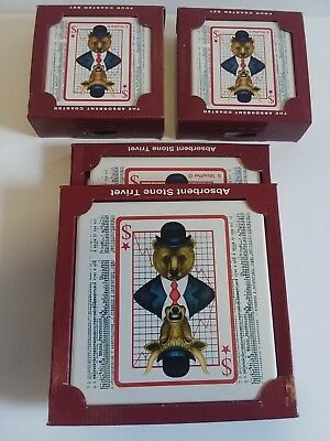 8 Stone Coasters & 2 Trivets by Stephanie Stouffer, Stock Market Bear & Bull NEW