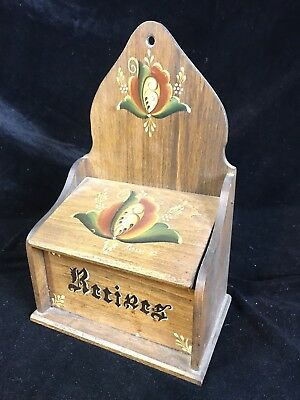 Norwegian Rosemaled Recipe Box, Hand Painted & Signed Vintage Wooden Card Chest.