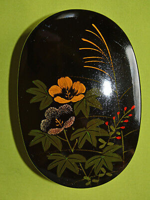 """Oval Black Lacquer Box with Flowers and Leaves Design, 3 3/4"""" long"""