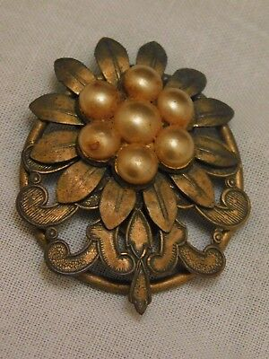 Antique Art Nouveau Deco Fur Clip Faux Pearl Scroll Brass Ring Back Riveted 2""