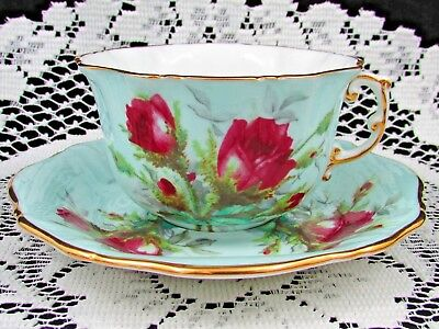 Hammersley Grandmothers Rose Red & Blue Embossed Tea Cup And Saucer