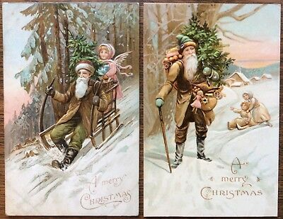 Santa Postcards, Two (2), The E.L. Series 102, Green and Brown Suits