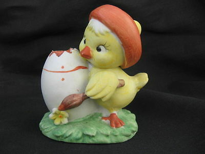vtg 1970s Lefton Chick baby Duck Easter egg ceramic Japan figurine vase holder