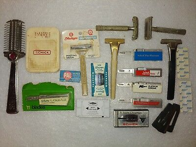 Vintage Gillette Schick Marquee Shaving Razors Blades Injectors Lot Group