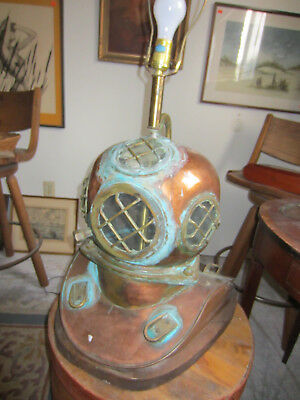 Navy 'Hard Hat' Diving Helmet Lamp With Rustic Patina -ANTIQUE- Brass & Copper