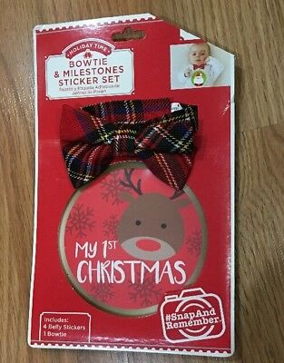 Baby Boy Bowtie & Milestone Sticker Set<My 1st Christmas