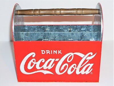 2003 Coke/coca-Cola Tin Utensil And Napkin Caddy/carrier
