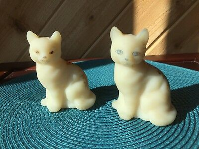 2 Fenton Satin Cats Hand Painted