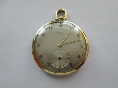 Vintage Universal Geneve 1940s 14K Yellow Gold Pocket Watch--Rare Find!!