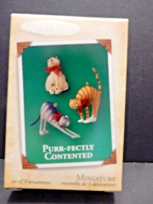 "HALLMARK MINIATURE  ORNAMENT  ""Purr-fectly Contented""  New in the Box"