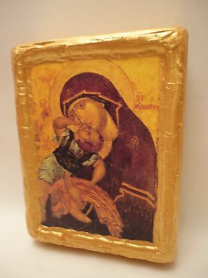 Virgin Mary Jesus Icon  Byzantine Balkan Orthodox Icon Christianity Art
