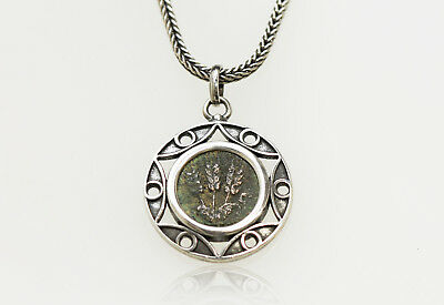 Sterling Silver Necklace with Genuine Ancient Coin from Judaea. w/Cert.-004