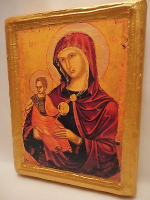 Virgin Mary Madonna & Child Ecclesiastical Byzantine Greek Orthodox Icon Art
