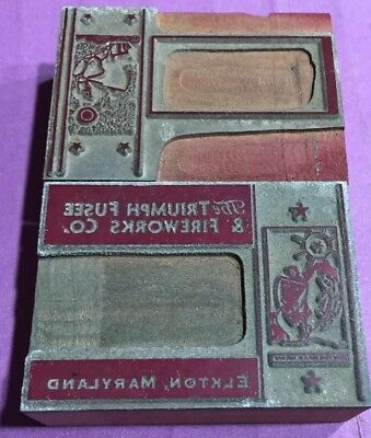 Two Vintage Letterpress Wood Print Blocks THE TRIUMPH FUSEE & FIREWORKS Co.