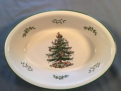 "SPODE CHRISTMAS TREE OVAL RIM SERVING DISH VEGETABLE 12.5"" SQUARE NEW with tag"