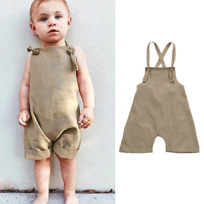 Toddler Kids Boys Overall Harem Straps Romper Playsuit Clothes Solid Outfit ZX