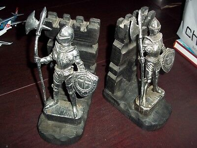 Vintage Pair of Knight & Castle Book Ends Medieval Game Thrones Moat Axe