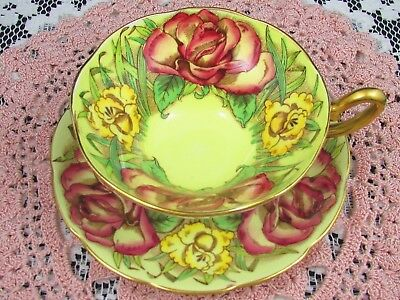 Taylor & Kent Red Roses And Yellow Lily Wide Mouth Tea Cup And Saucer