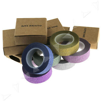 6 X 10M Glitter Washi Tape Sticker Decorative Self Adhesive DIY Trim Paper