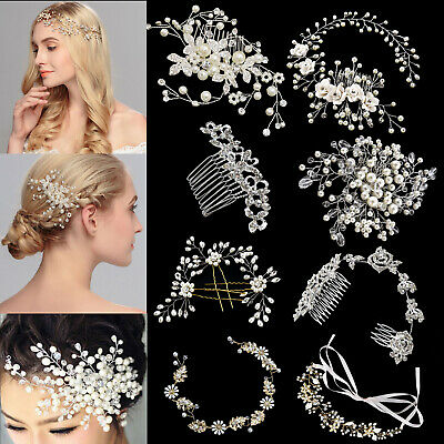 Bridal Wedding Hair Comb Crystal Diamante Pearl Hair Slide Clips-Multi Design