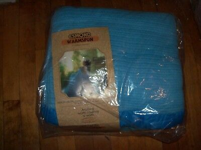 NEW VINTAGE ESMOND WARMSPUN THERMAL BLUE BLANKET FULL TWIN - 72x90 -SEALED PKG