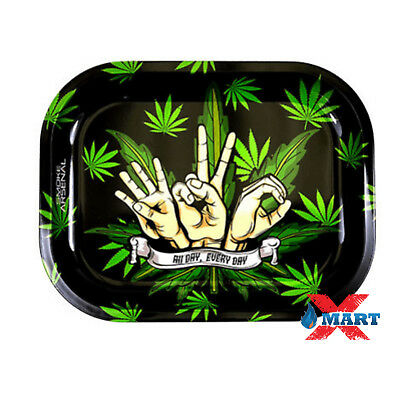 Smoke Arsenal ALL DAY EVERY DAY 420 Tobacco Metal Small Rolling Tray 7x5