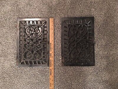 Pair of Antique Vintage Iron Wall Grate Heat Register Vent  Cast Iron