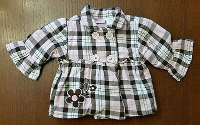Plaid pea coat baby girl size 12 months