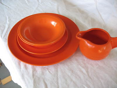 California Pottery Lot Of 5 - Including Red/orange Bauer Creamer Plus Unmarked