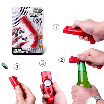 NEW Beer Drink Cap Gun Launcher Ejection Bottle Opener Party Bar Club Gift Call