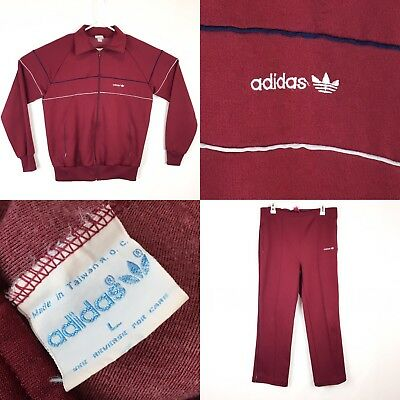 Vintage 70s 80s ADIDAS Trefoil Spell Out Track Suit Jacket Pants Run DMC Size L