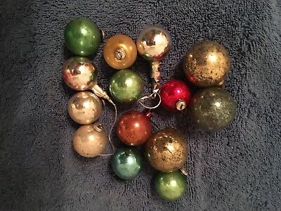 Vintage Christmas Glass Small Ornaments Some Made In Japan Lot Of 14