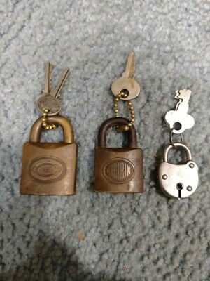2 Vintage Corbin Brass Padlocks & 1 Small Unmarked Lock Old Locksmith With Keys!