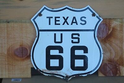 Vintage Texas Tx Route 66 Highway Porcelain Sign